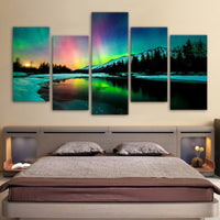 Northern Lights Aurora Borealis Nature Framed 5 Piece Canvas Wall Art Painting Wallpaper Poster Picture Print Photo Decor