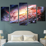 Outer Space Galaxy Stars Universe Framed 5 Piece Canvas Wall Art Painting Wallpaper Poster Picture Print Photo Decor