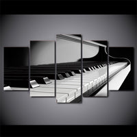 Piano Keys Music Instrument Framed 5 Piece Canvas Wall Art Painting Wallpaper Poster Picture Print Photo Decor