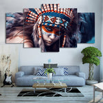 Native American Indian Girl Painting Framed 5 Piece Canvas Wall Art - 5 Panel Canvas Wall Art - FabTastic.Co