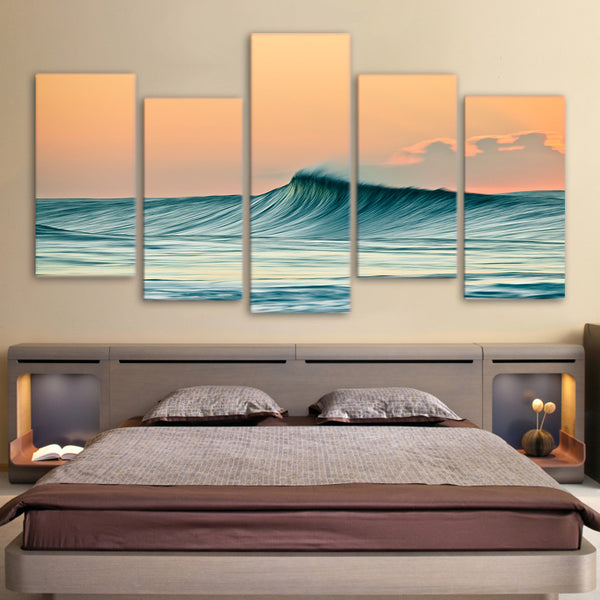 Ocean Waves Seascape Framed 5 Piece Canvas Wall Art Painting Wallpaper Poster Picture Print Photo Decor