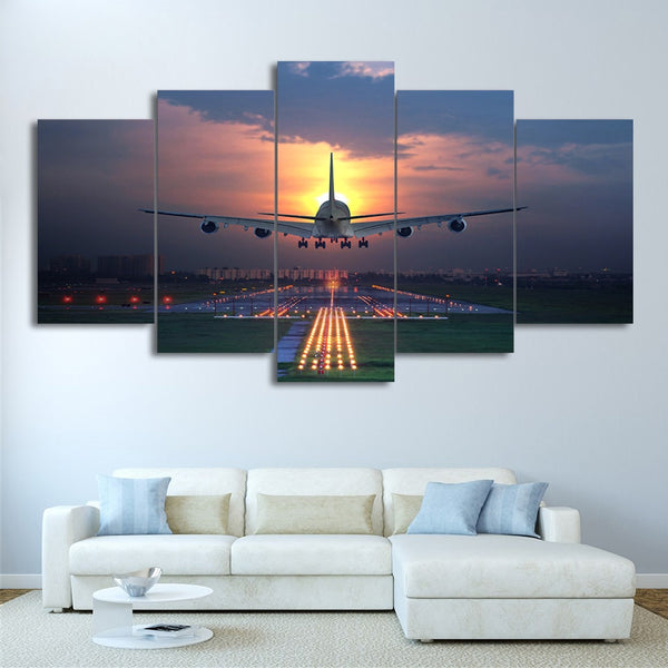 Sunset Airplane Landing On Runway Framed 5 Piece Canvas Wall Art - 5 Panel Canvas Wall Art - FabTastic.Co
