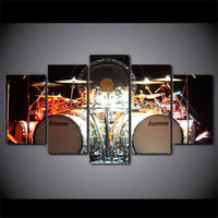 Drums Music Musician Framed 5 Piece Canvas Wall Art