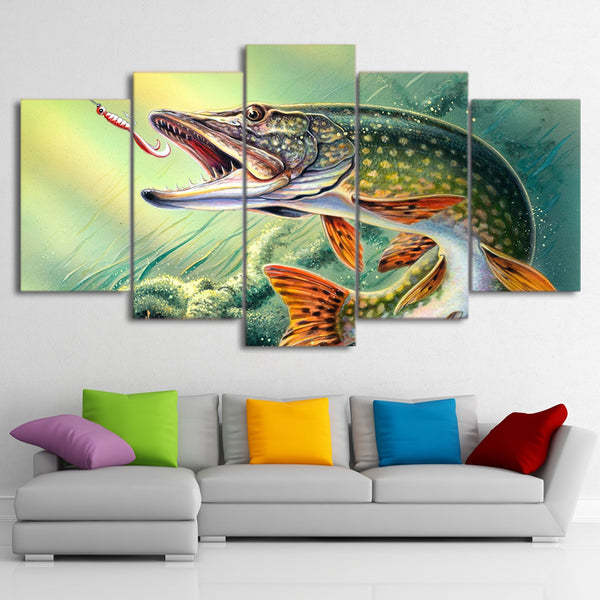Fishing Hooked Pike Fish Framed 5 Piece Canvas Wall Art - 5 Panel Canvas Wall Art - FabTastic.Co