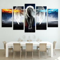 Anime Angel Girl Wings Fire & Ice Framed 5 Piece Canvas Wall Art Painting Print Picture