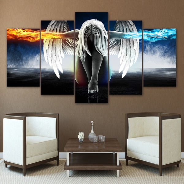 Anime Angel Girl Wings Fire /& Ice Framed 5 Piece Canvas Wall Art Painting Print