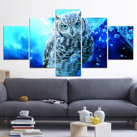 Blue Owl Framed 5 Piece Canvas Wall Art - 5 Panel Canvas Wall Art - FabTastic.Co