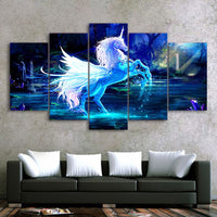 3D White & Blue Fantasy Unicorn Horse Framed 5 Piece Canvas Wall Art - 5 Panel Canvas Wall Art - FabTastic.Co