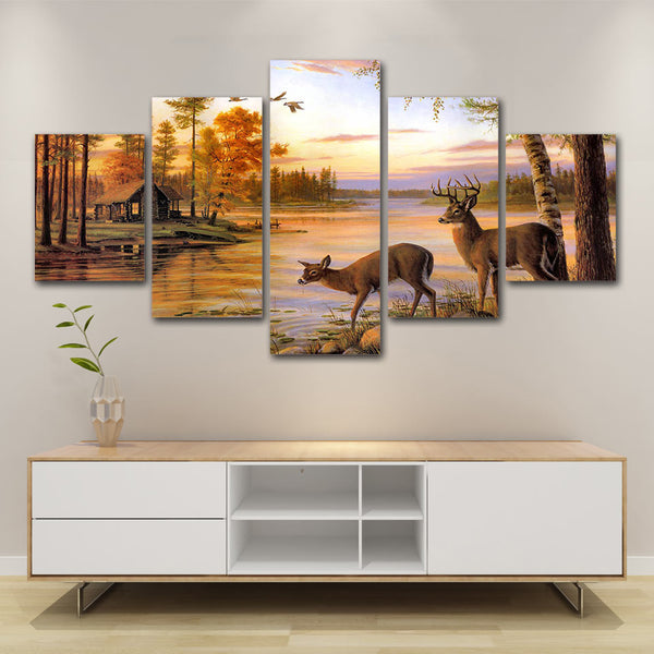 Deer In Autumn Forest Lake Cabin Framed 5 Piece Canvas Wall Art Painting Wallpaper Poster Picture Print Photo Decor