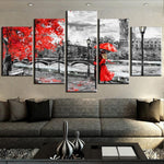London Clock Tower Black & White With Red Tree & People Framed 5 Piece Canvas Wall Art - 5 Panel Canvas Wall Art - FabTastic.Co