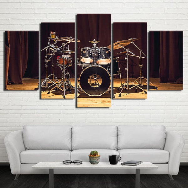 Drummer Music Room Stage Drums Framed 5 Piece Canvas Wall Art Painting Wallpaper Poster Picture Print Photo Decor