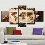 Grains & Spices World Earth Globe Map Framed 5 Piece Canvas Wall Art - 5 Panel Canvas Wall Art - FabTastic.Co