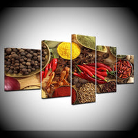 Grains Spices Peppers Food Restaurant Framed 5 Piece Canvas Wall Art Painting Wallpaper Poster Picture Print Photo Decor