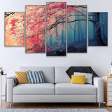 Cherry Tree Blossoms Forest Framed 5 Piece Panel Canvas Wall Art Print