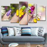 Beauty Salon Manicure Colorful Flower Woman Nails Framed 5 Piece Canvas Wall Art - 5 Panel Canvas Wall Art - FabTastic.Co