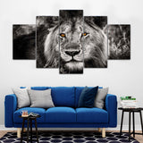 Wild Lion Animal Framed 5 Piece Canvas Wall Art - 5 Panel Canvas Wall Art - FabTastic.Co