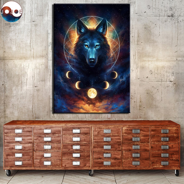 Wolf Dream Catcher Moon Phases Framed 1 Piece Canvas Wall Art Painting Wallpaper Poster Picture Print Photo Decor