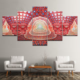 Psychedelic Face Alex Grey Metal Music Framed 5 Piece Canvas Wall Art - 5 Panel Canvas Wall Art - FabTastic.Co