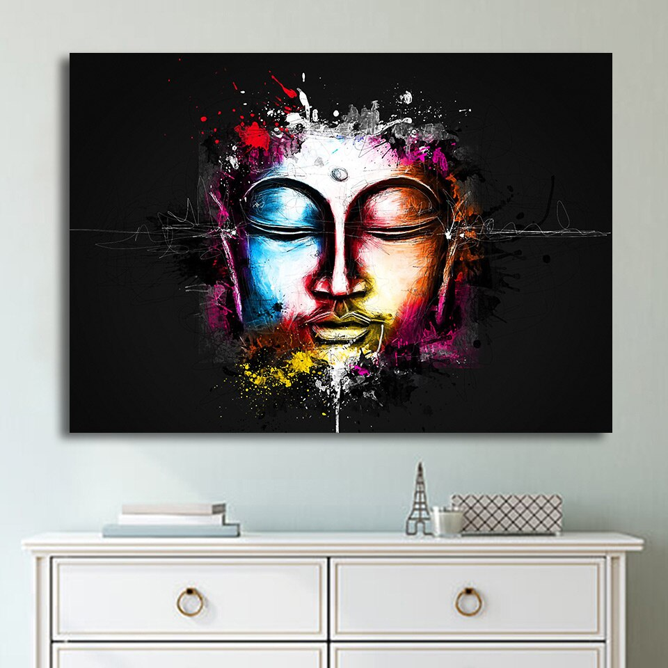 Colorful Buddhism Buddhist Buddha Framed 1 Panel Piece Canvas Wall Art Painting Wallpaper Poster Picture Print Photo Decor