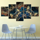 Cool Abstract Flower Painting 5 Piece Canvas Wall Art - 5 Panel Canvas Wall Art - FabTastic.Co