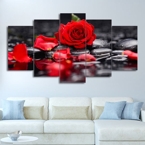 Red Rose Flower 5 Piece Canvas Wall Art Image Picture Wallpaper Mural Decoration Design Artwork Poster Decor Print Painting Photography