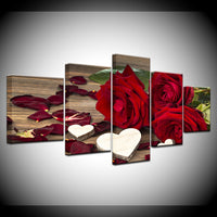 Beautiful Red Roses & White Hearts Framed 5 Piece Canvas Wall Art - 5 Panel Canvas Wall Art - FabTastic.Co