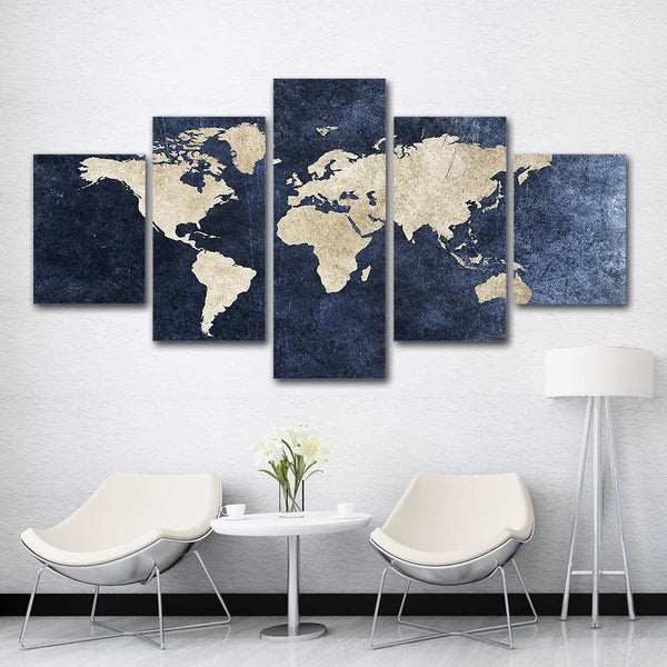 World Map Framed 5 Piece Canvas Wall Art Painting Wallpaper Poster Picture Print Photo Decor