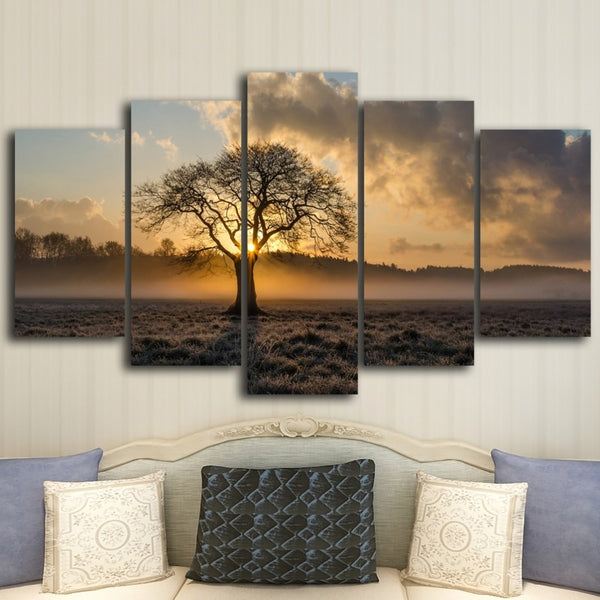 Beautiful Sunrise Tree & Clouds Framed 5 Piece Canvas Wall Art - 5 Panel Canvas Wall Art - FabTastic.Co