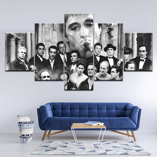 Godfather Goodfellas Scarface Sopranos Black & White Gangster Movies Framed 5 Piece Canvas Wall Art - 5 Panel Canvas Wall Art - FabTastic.Co
