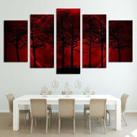 Red Sun Halo Forest Trees Framed 5 Piece Canvas Wall Art - 5 Panel Canvas Wall Art - FabTastic.Co