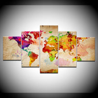 Retro Vintage World Earth Globe Map Framed 5 Piece Canvas Wall Art - 5 Panel Canvas Wall Art - FabTastic.Co