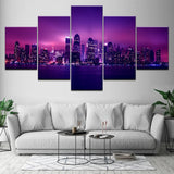 New York City Panoramic NYC USA Skyline Cityscape Framed 5 Piece Canvas Wall Art - 5 Panel Canvas Wall Art - FabTastic.Co