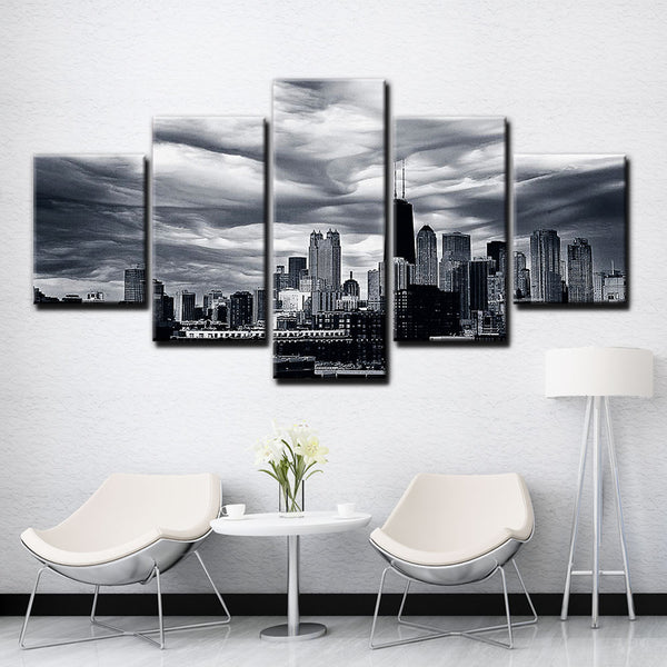 Chicago City Illinois USA America Cityscape Buildings Black & White Framed 5 Piece Panel Canvas Wall Art Print