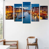 Night Lights In Venice City Boats On Water Canals Water Framed 5 Piece Canvas Wall Art - 5 Panel Canvas Wall Art - FabTastic.Co