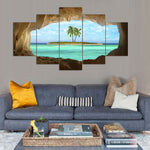 Azure Seascape Ocean Tropical Island Sea Palm Tree Framed 5 Piece Canvas Wall Art - 5 Panel Canvas Wall Art - FabTastic.Co