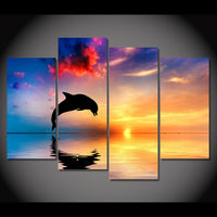 Ocean Seascape Dolphin Sunset Sunrise Framed 4 Piece Canvas Wall Art Painting Wallpaper Poster Picture Print Photo Decor