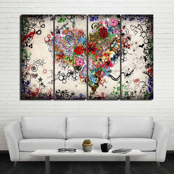 Flower Heart Love Framed 4 Piece Canvas Wall Art Painting Wallpaper Poster Picture Print Photo Decor