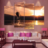 Dolphin Sunrise Sunset Ocean Seascape Framed 4 Piece Canvas Wall Art Painting Wallpaper Poster Picture Print Photo Decor