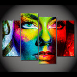 Colorful Abstract Art Girl Framed 4 Piece Canvas Wall Art Painting Wallpaper Poster Picture Print Photo Decor