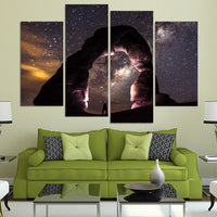Starry Night Galaxy Sky Framed 4 Piece Canvas Wall Art Painting Wallpaper Poster Picture Print Photo Decor