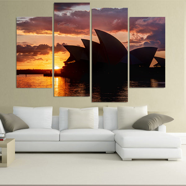 Sydney Australia Opera House Framed 4 Piece Canvas Wall Art Painting Wallpaper Poster Picture Print Photo Decor