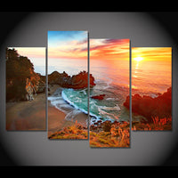 Rocky Beach Ocean Waves Seascape Sunset Sunrise  Framed 4 Piece Canvas Wall Art Painting Wallpaper Poster Picture Print Photo Decor