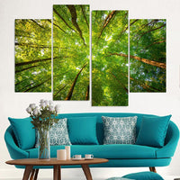 Forest Trees Framed 4 Piece Canvas Wall Art Painting Wallpaper Poster Picture Print Photo Decor