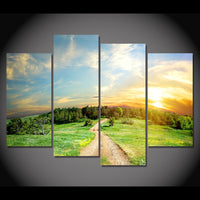 Country Nature Road Forest Sunrise Sunset Framed 4 Piece Canvas Wall Art Painting Wallpaper Poster Picture Print Photo Decor
