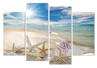 Sandy Tropical Ocean Beach Seascape Framed 4 Piece Canvas Wall Art Painting Wallpaper Poster Picture Print Photo Decor