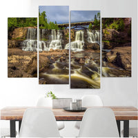 Rocky Waterfalls Framed 4 Piece Canvas Wall Art Painting Wallpaper Poster Picture Print Photo Decor