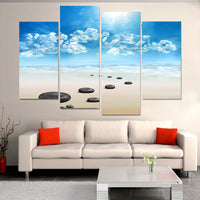 Ocean Beach Waves & Rocks Seascape Framed 4 Piece Canvas Wall Art Painting Wallpaper Poster Picture Print Photo Decor