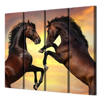 2 Horses Framed 4 Piece Canvas Wall Art Painting Wallpaper Poster Picture Print Photo Decor