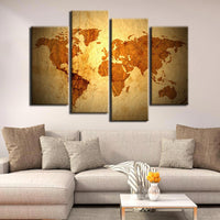 World Map Framed 4 Piece Canvas Wall Art Painting Wallpaper Poster Picture Print Photo Decor