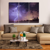 Toronto Ontario Canada City Night Lightning Storm Skyline Cityscape 1, 2, 3, 4 Framed Canvas Wall Art Painting Wallpaper Poster Picture Print Photo Decor